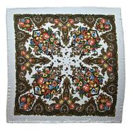 Платок шерстяной Tranini 0355 русский узор белый