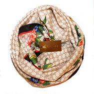 Шелковый женский платок Gucci с пчелкой бежевый 6043