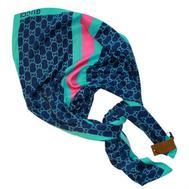 Платок шелковый Gucci синий c бирюзовым, 6011