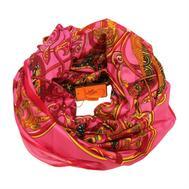 Шелковый платок HERMES розовый 130х130