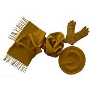 Комплект женский (берет, шарф, перчатки) 00031 горчичный