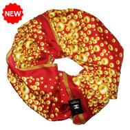Шелковый платок CHANEL красный 90х90