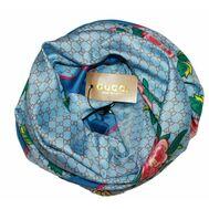 Шелковый женский платок Gucci с пчелкой голубой 6040