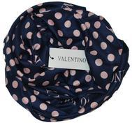 Платок шелковый Valentino, синий в розовый горох, 5003