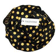 Платок шелковый Valentino черный в жёлтый горох 5006