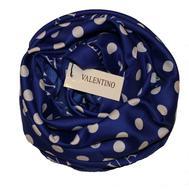Платок шелковый Valentino, синий в белый горох, 5008