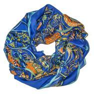 Шелковый платок HERMES синий, 5112