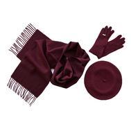 Комплект (берет, шарф, перчатки) 00033 винный