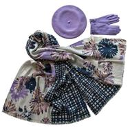 Комплект (берет, палантин, перчатки) Tranini 33002 сиреневый