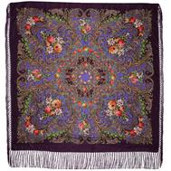 Платок с павловопасадским узором фиолетовый 0900