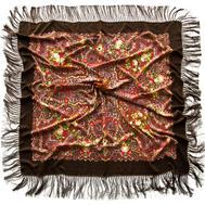 Платок шерстяной 0009 русский узор коричневый