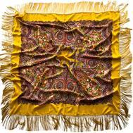 Платок шерстяной 0008 русский узор желтый