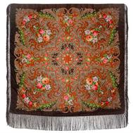 Платок с павловопосадским узором коричневый 120х120