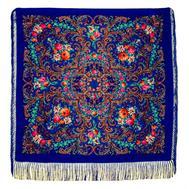 Платок с павловопосадским узором синий 120х120