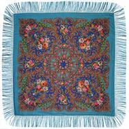 Платок с павловопосадским узором голубой 120х120