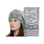Комплект женский Tranini берет и шарф серый 0073