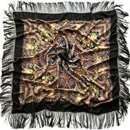 Платок шерстяной 0003 русский узор черный