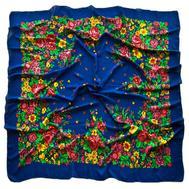 Платок шерстяной Tranini 0402 русский узор синий