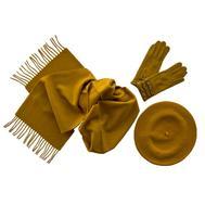 Комплект (берет, шарф, перчатки) желтый 00002