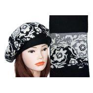Комплект женский Tranini берет и шарф черный 0068