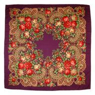 Платок с павловопосадским узором 90х90 фиолетовый
