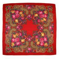 Платок с павловопосадским узором 90х90 красный