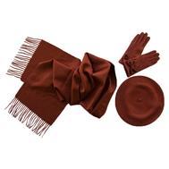 Комплект женский (берет, шарф, перчатки) 00122 терракотовый