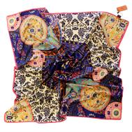 Шелковый платок HERMES кобальт 100 х 100