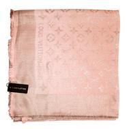 Платок Louis Vuitton Monogram 1175 нежный розовый с серебром 140х140