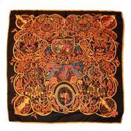 Шелковый платок HERMES черный, 5130