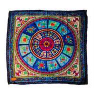 Шелковый платок HERMES голубой R0003
