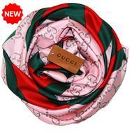 Шелковый женский платок Gucci розовый 6027