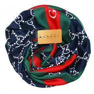 Шелковый женский платок Gucci синий 6026