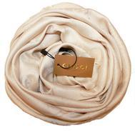 Шелковый женский платок Gucci бежевый 6033