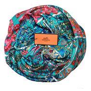 Шелковый платок HERMES голубой, 5144