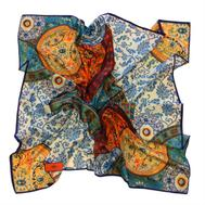 Шелковый платок HERMES голубой 100 х 100