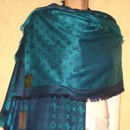 Платок Louis Vuitton сине-бирюзовый 140х140