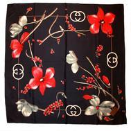 Шелковый платок Gucci черный, 6020