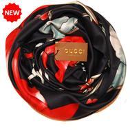 Шелковый платок Gucci черный 90х90, 6020