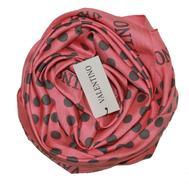 Платок шелковый Valentino розовый в серый горох 5010