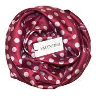 Платок шелковый Valentino сиреневый в белый горох 5009