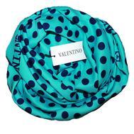 Платок шелковый Valentino бирюзовый в горох 5011