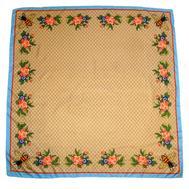 Шелковый женский платок Gucci с пчелкой бежевый, 6037