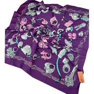 Шелковый платок HERMES фиолетовый 7108