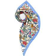 Платок женский шёлковый MIU MIU белый-голубой M0004