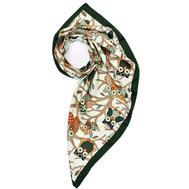 Платок женский шёлковый MIU MIU белый-зеленый M0005