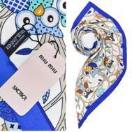 Платок женский шёлковый MIU MIU белый-синий M0006