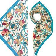 Платок женский шёлковый MIU MIU белый-голубой M0007