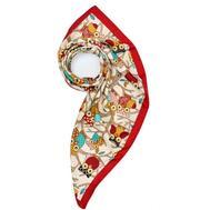 Платок женский шёлковый MIU MIU белый-красный M0009