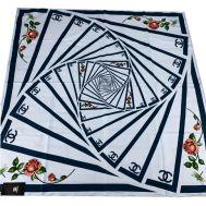 Шелковый женский платок Chanel голубой 3123
